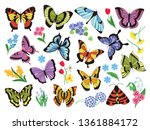 Colored Butterflies. Hand Draw...