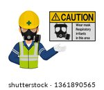 a worker with respiratory mask... | Shutterstock .eps vector #1361890565