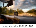 navigator on the windshield of...   Shutterstock . vector #1361951708