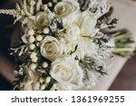 wedding bridal bouquet stands... | Shutterstock . vector #1361969255