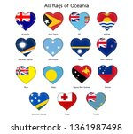 all oceania heart shaped flags | Shutterstock .eps vector #1361987498