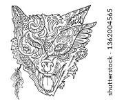 wild beautiful wolf head hand... | Shutterstock .eps vector #1362004565