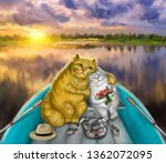 Stock photo couple in love romance cats swim along the river camping fishermen catch fish illustration 1362072095