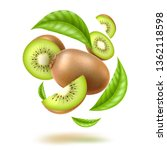 realistic kiwi with green... | Shutterstock .eps vector #1362118598