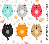 Funny Doodle Colored Cats Set....