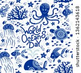 world oceans day hand drawn... | Shutterstock .eps vector #1362143618