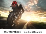 motorcycle at full speed on a...   Shutterstock . vector #1362181298