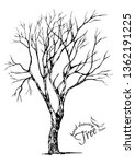 hand drawn tree isolated on... | Shutterstock .eps vector #1362191225