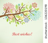 floral greeting card | Shutterstock .eps vector #136220198