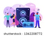 hip hop singer with microphone...   Shutterstock .eps vector #1362208772
