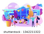 tiny people with kids eating... | Shutterstock .eps vector #1362211322
