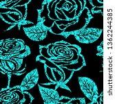 vector seamless grunge floral... | Shutterstock .eps vector #1362244385