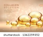 collagen background. golden oil ... | Shutterstock .eps vector #1362259352