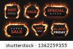realistic fire labels. hot deal ... | Shutterstock .eps vector #1362259355