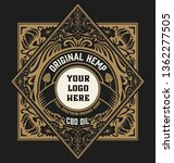 hemp oil label. vintage style.... | Shutterstock .eps vector #1362277505
