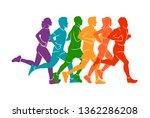 running marathon  people run ... | Shutterstock .eps vector #1362286208