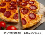 tasty pepperoni pizza of... | Shutterstock . vector #1362304118