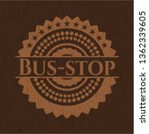 Bus Stop Wood Emblem. Retro