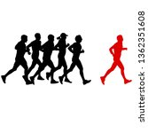 set of silhouettes. runners on... | Shutterstock . vector #1362351608