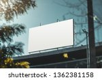 an empty huge poster mockup on... | Shutterstock . vector #1362381158