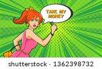 pop art. a woman runs holding... | Shutterstock .eps vector #1362398732