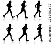 set of silhouettes. runners on... | Shutterstock .eps vector #1362401672