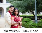 gorgeous indian bride and groom ... | Shutterstock . vector #136241552