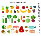 set of various dietary food ... | Shutterstock .eps vector #1362433025