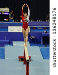 Small photo of MOSCOW - APR 19: 2013 European Artistic Gymnastics Championships. Elisa Haemmerle - Austrian gymnast performs on the balance beam in Olympic Stadium on April 19, 2013 in Moscow, Russia.