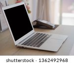 selective focus laptop on desk... | Shutterstock . vector #1362492968