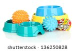 Stock photo pet accessories isolated on white 136250828