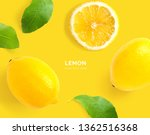 creative layout made of lemon.... | Shutterstock . vector #1362516368