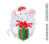 cute little mouse in a red hat... | Shutterstock .eps vector #1362561482