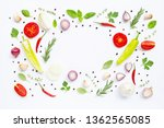 various fresh vegetables and... | Shutterstock . vector #1362565085