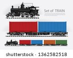 cargo train on a rail road... | Shutterstock .eps vector #1362582518