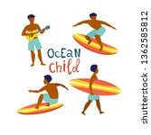 surfing guys on the surf boards ... | Shutterstock .eps vector #1362585812