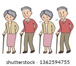 elderly couple walking with a... | Shutterstock .eps vector #1362594755