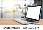 desk laptop with blank screen...   Shutterstock . vector #1362622175