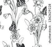 seamless floral pattern vectors....   Shutterstock .eps vector #1362629228