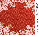 sakura on wave red background | Shutterstock .eps vector #1362634268