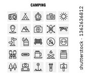 camping line icon pack for...