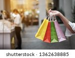 young woman holding sale... | Shutterstock . vector #1362638885