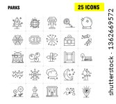 parks line icons set for...