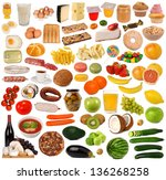 food collection isolated on... | Shutterstock . vector #136268258