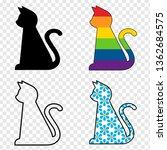 stock vector cartoon cat set on ... | Shutterstock .eps vector #1362684575