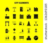 city elements solid glyph icons ...