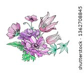 floral bouquet of anemones ... | Shutterstock . vector #1362708845