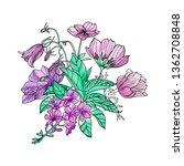 floral bouquet of anemones ... | Shutterstock . vector #1362708848