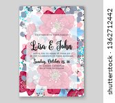 peony pink rose ranunculus... | Shutterstock .eps vector #1362712442