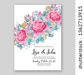 rose wedding invitation floral... | Shutterstock .eps vector #1362713915
